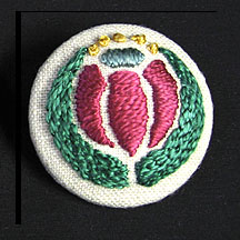 Hand Embroidered Brooch, Conventional Flower