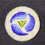 Hand Embroidered Brooch, Conventionalized Design