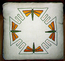 Dragonfly Pillow - Craftsman Linen