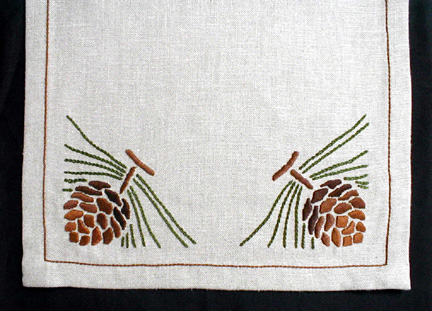 Pinecone Table Linen, corner design, custom order