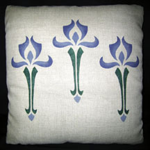 Stencilled Iris Pillow