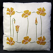 Stencilled Poppy Pillow