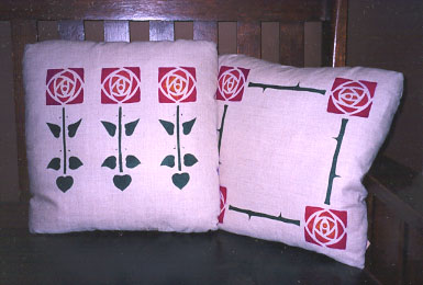 Stencilled Rose Pillows