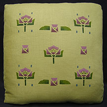 Stencilled Water Lily Pillow